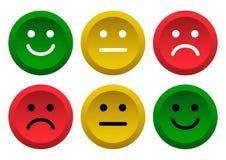 Insieme dei tasti Icona verde, gialla, rossa degli emoticon di smiley positiva, neutrale e negativa Illustrazione di vettore royalty illustrazione gratis