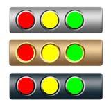 Insieme dei tasti verdi rossi del metallo giallo Fotografia Stock Libera da Diritti