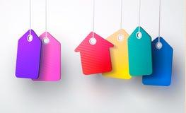 Insieme dei telai d'annata in bianco Etichette del regalo Incarti i contrassegni Progettazione piana Vettori isolati Illustrazion illustrazione di stock