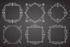 Insieme dei telai d'annata vittoriani della decorazione Strutture calligrafiche dell'ornamento di Flourishes Retro raccolta della Fotografia Stock
