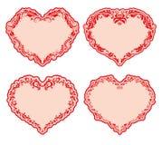 Insieme dei telai decorati del cuore. royalty illustrazione gratis