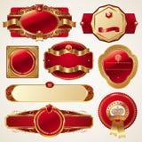 Insieme dei telai decorati di lusso dorati Immagini Stock