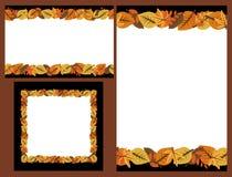 Insieme dei telai dei fogli di autunno Fotografia Stock