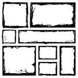 Insieme dei telai del quadrato di lerciume Fondo vuoto del confine La mano estrae l'inchiostro in bianco e nero Modello dell'anna illustrazione vettoriale