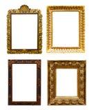 Insieme dei telai del vecchio oro Isolato sopra bianco immagini stock
