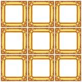insieme dei telai di legno dorati isolati su bianco Fotografie Stock