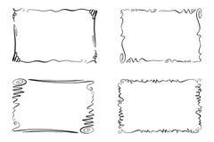 Insieme dei telai di vettore di Flourish Raccolta dei rettangoli con gli scarabocchi, le rotazioni e gli abbellimenti per l'immag illustrazione di stock
