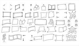 Insieme dei telai disegnati a mano della foto di stile di scarabocchio illustrazione vettoriale