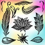 Insieme dei telai e degli elementi ornamentali di stile di Boho Illustrazione di vettore Fotografie Stock Libere da Diritti