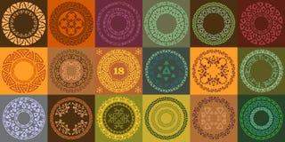 Insieme dei telai etnici disegnati a mano del cerchio Etichette rotonde con i confini ornamentali illustrazione vettoriale