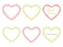 Insieme dei telai floreali sotto forma di un cuore Fotografia Stock Libera da Diritti