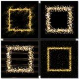 Insieme dei telai quadrati dorati su fondo nero Fotografia Stock Libera da Diritti