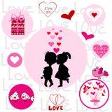 Insieme dei telai rotondi con gli elementi del biglietto di S. Valentino Fotografie Stock Libere da Diritti