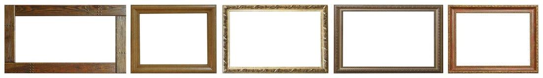 Insieme dei telai vuoti isolati di arte in dorato Fotografia Stock Libera da Diritti