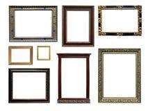 Insieme dei telai vuoti isolati di arte nel colore dorato Fotografia Stock Libera da Diritti
