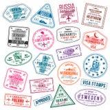 Insieme dei timbri di visto per i passaporti Bolli dell'ufficio di immigrazione e dell'internazionale Timbri di visto di partenza illustrazione vettoriale