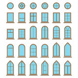 Insieme dei tipi differenti della finestra e del vetro delle icone Immagini Stock