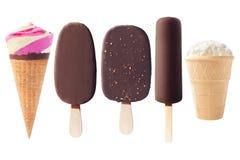 Insieme dei tipi differenti di gelati, percorso di ritaglio, isolato Fotografie Stock Libere da Diritti