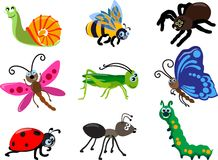Insieme dei tipi differenti di insetti isolati su fondo bianco nello stile piano Illustrazione di vettore Immagine Stock