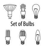 Insieme dei tipi differenti di lampadine Illustrazione di vettore Fonte luminosa Fotografia Stock