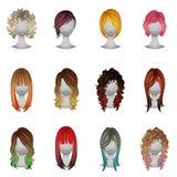Insieme dei tipi e dei colori differenti dei capelli Immagine Stock