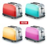 Insieme dei tostapane luminosi Vettore isolato su bianco Fotografia Stock Libera da Diritti