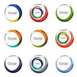Insieme dei turbinii dell'estratto e dei cerchi, raccolta di logo Fotografia Stock