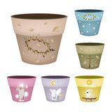 Insieme dei vasi da fiori decorativi su fondo bianco Fotografia Stock Libera da Diritti