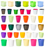 Insieme dei vasi da fiori di plastica Fotografie Stock