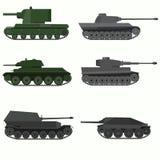 Insieme dei veicoli militari e dei carri armati Immagine Stock