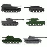 Insieme dei veicoli militari e dei carri armati Fotografia Stock Libera da Diritti