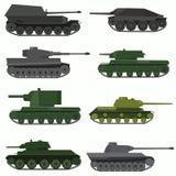 Insieme dei veicoli militari e dei carri armati Fotografia Stock