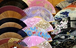 Insieme dei ventagli giapponesi Fotografia Stock