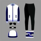 Insieme dei vestiti degli uomini d'avanguardia Attrezzatura dei pantaloni, della giacca sportiva e del CA dell'uomo Fotografia Stock