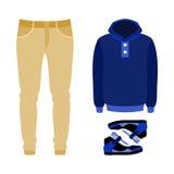 Insieme dei vestiti degli uomini d'avanguardia con i pantaloni, la maglia con cappuccio e le scarpe da tennis Immagini Stock