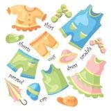 Insieme dei vestiti del bambino Immagini Stock