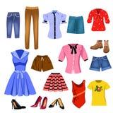 Insieme dei vestiti delle donne Immagini Stock Libere da Diritti