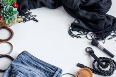 insieme dei vestiti delle donne, accessori Immagine Stock Libera da Diritti