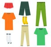 Insieme dei vestiti e degli accessori piani degli uomini Immagine Stock Libera da Diritti