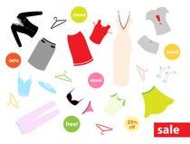 Insieme dei vestiti e degli autoadesivi colourful Immagine Stock