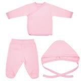 Insieme dei vestiti per i bambini ed i bambini, isolamento Fotografie Stock