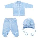 Insieme dei vestiti per i bambini ed i bambini, isolamento Immagine Stock