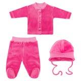 Insieme dei vestiti per i bambini ed i bambini, isolamento Fotografia Stock Libera da Diritti