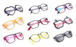 Insieme dei vetri dell'occhio di modo isolati su bianco Fotografia Stock