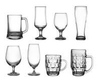 Insieme dei vetri della tazza della birra Fotografie Stock