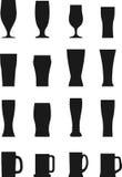 Insieme dei vetri di birra differenti delle siluette Immagini Stock Libere da Diritti