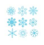Insieme dei vettori del fiocco di neve Fotografie Stock Libere da Diritti