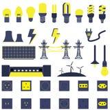 Insieme dei vettori e delle icone di energia di Electric Power Fotografia Stock