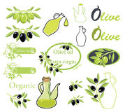 Insieme dei vettori sul tema dell'olio d'oliva Fotografia Stock Libera da Diritti