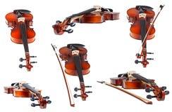Insieme dei violini moderni classici isolati Immagine Stock Libera da Diritti